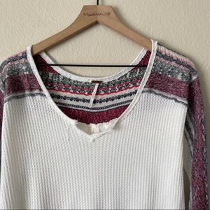 FREE PEOPLE Thermal Knit Detail Cuff Shoulder S